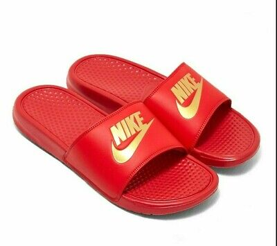 Nike Benassi JDI University Red Metallic Gold 343880 602 Mens Slides Sandals