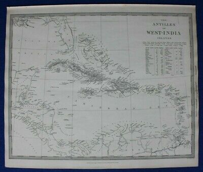 ANTILLES, WEST INDIES, CUBA, JAMAICA, HISPANIOLA, original antique map SDUK 1844