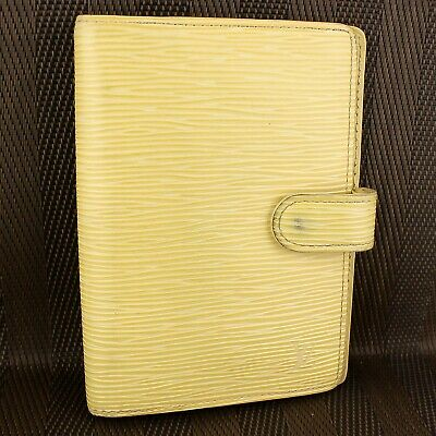 Auth LOUIS VUITTON AGENDA PM Notebook Cover Epi Leather R2005A Vanilla