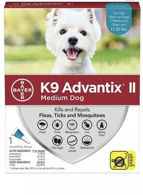 Bayer K9 Advantix II Flea Tick & Mosquito Medium Dogs 11-20 lbs 1 treatment Dose