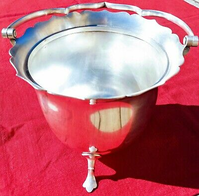 Antique Mappin & Webb Ice Bucket Triple Silver Plate Starting One Dollar No Res!