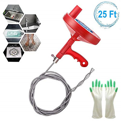 Plumbing Snake Drain Auger 25 Feet Professional Sink Snake Removing Clog Tools