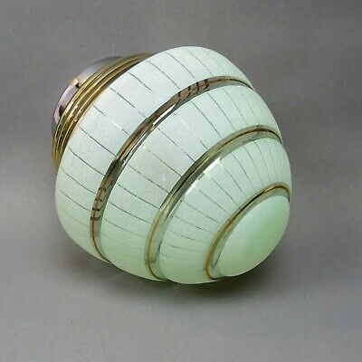 Art Deco Glass Lamp Shade ~ Green with Frosted Banding ~ 1 of pair / Globe Light