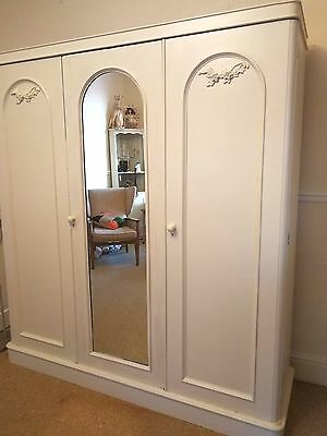 Large Antique Compactum Linen Wardrobe Mirrored Triple Armoire shabby chic F&B