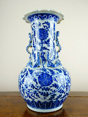 Antique Chinese Porcelain Ming Vase Blue and White Dragon 19th Century Qing 35cm