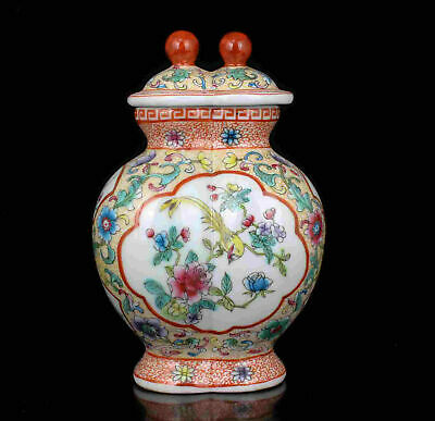 Noble China Old Collectible Hand Painting Flowers Birds Big Porcelain Jar pot