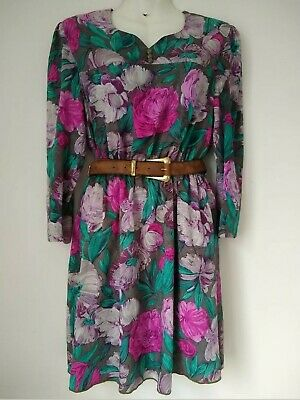 Genuine Vintage Floral Dress By JEAN CHALET garden Party Fully Lined Long Small