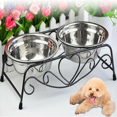 2- Raised Dog Bowl Elevated Pet Feeder Waterer Cat Puppy Food/Water Dish