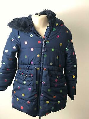 Girls M&S Navy & Multi Colour Polka Dot Hooded Warm Coat Jacket Kids Age 4-5 Yrs