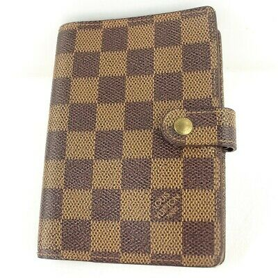 Auth LOUIS VUITTON AGENDA PM Notebook Day Planner Cover Damier Ebene R20700
