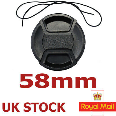 58Mm Centre Pinch And Grip Lens Cap Cover Fits Canon Sony Nikon Olympus  Lc-58