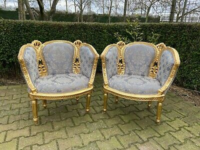 Beautiful set of two bergères in French Louis XVI style in damask.