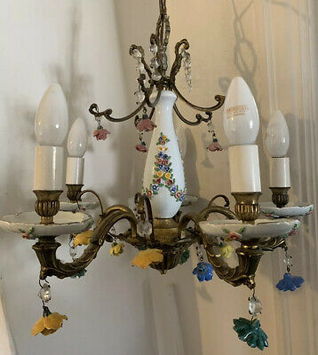 Vintage Antique Chandelier French Brass Ceiling Light Lamp Ceramic Roses