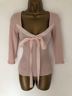 CXD London Top Pink Thin Knit Ribbed Cashmere Silk Bow Neck Long Sleeve Size M 8