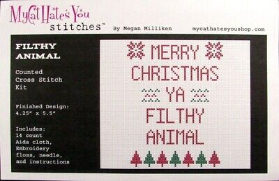 6x Xstitch Kit/Pattern  Filthy Animal/Go Forth/Spoopy/Bite Me/Lair/Shut Up-SN43