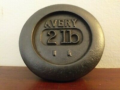 Collectable Vintage Cast Iron Avery 2lb Round Weight  - Great Paperweight