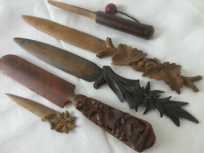 ANTIQUE,lot,HAND CARVED,WOOD,letter openers,BEAUTIFUL COLLECTION