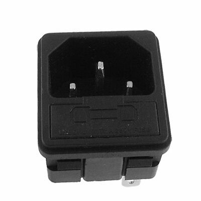 250V 10A 3P IEC 320 C14 Power Inlet Socket Receptacle w 5x23mm Fuse Holder