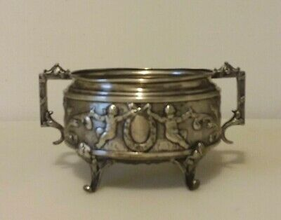 Stunning Georg Roth German Hanau Silver Footed Bowl Repousse Putti Wreath Motif