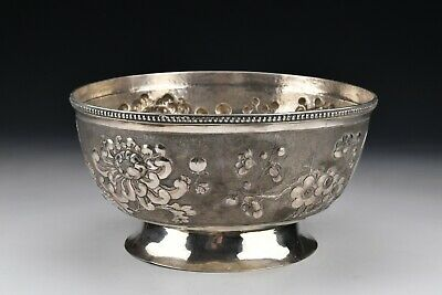Large Chinese Export Silver Serving Bowl With Fine Quality Detail Work Signed