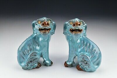 Chinese Shiwan Pottery Foo Dog Statues Figures 19th Century