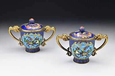 Chinese Cloisonne Mirror Image Covered Libation Cups w/ Phoenix 19th Century