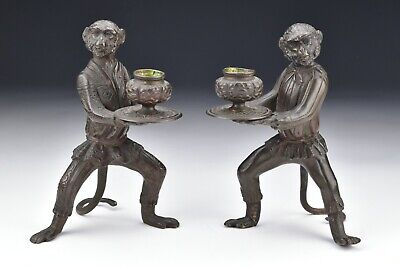 Monkey Form French Bronze Candlesticks 19th Century