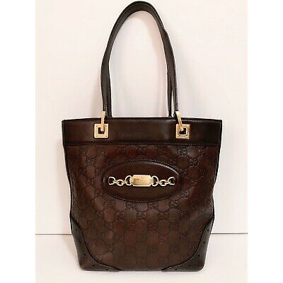 😍WOW! Beautiful Authentic GUCCI GG WEB Vintage Brown Leather Bucket Tote Bag