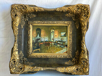 "Vintage Ornate Large Heavy Gold Gilded Wood 21x18"" Picture Frame Veneer Print"
