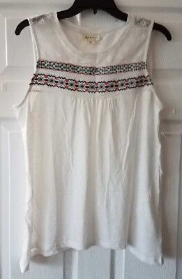 NWT Style & Co. Womens White Embroidery Pullover Top Shirt Size PL Petite Large