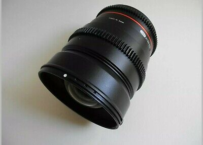 Rokinon Cine 24mm T1.5 lens for Canon EF mount camera. Plus follow focus