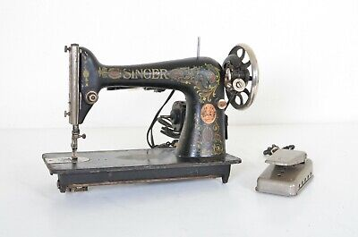Vintage Singer Model 66 Red Eye Sewing Machine W/ Electric Motor Tested Working