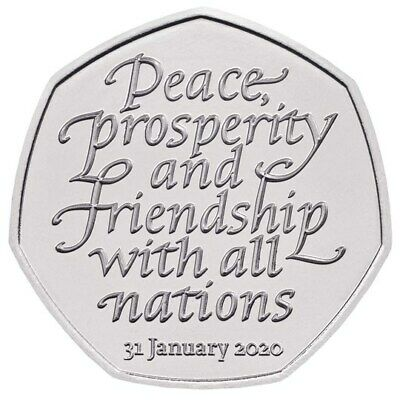 Withdrawal from the European Union (BREXIT) 2020 UK 50p Coin UNCIRCULATED