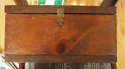 Vintage Antique Folk Art Box Wood Chest Signed Cursive Writing 10.75 in Mothers