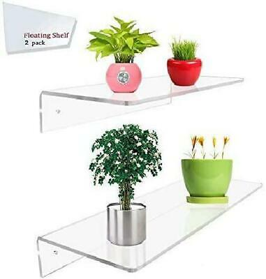 Display4Top 2 Pack Of Clear Acrylic Floating Shelf Wall Mounted Display Organize