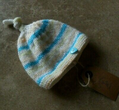 Hand knitted newborn baby candystripe top knot hat - brand new