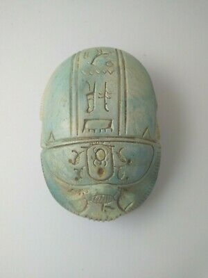 RARE ANCIENT EGYPTIAN ANTIQUE Scarab Hieroglyphs Beetle Scarab Carved Stone Bc