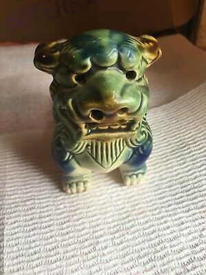 Vintage Chinese or Asian Glazed Ceramic Foo Dragon Dog Statue, Green,Brown,White