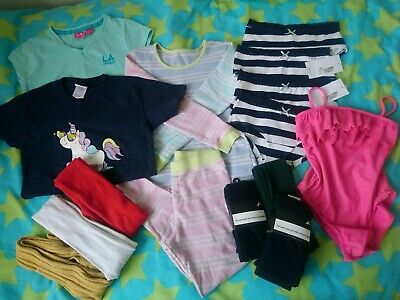 Girls tights, briefs, T-shirts, swimsuit, pjs mixed bundle 9-10 years