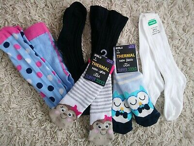 Girls non skid thermal slipper socks and tights mixed bundle 3-4 Yrs size 6-8.5