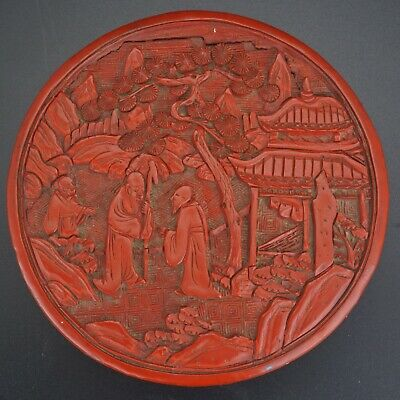 Chinese cinnabar lacquer cylindrical box of sages with their attendant - 19th C