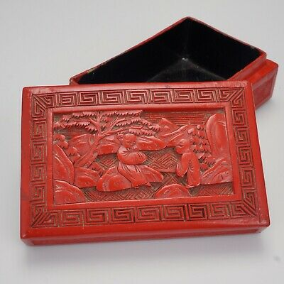 Chinese red lacquer cinnabar carved box circa 1900