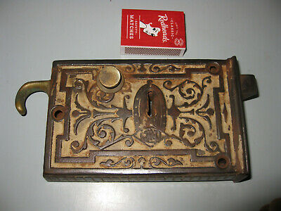 Antique FANCY CAST IRON DOOR LOCK early 1900's architectural cottage renovation