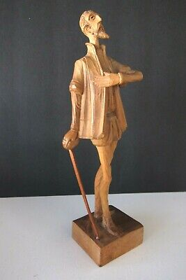 Don Quixote Sancho Panza Carved Wood Figurine Ouro Artesania Made In Spain 580