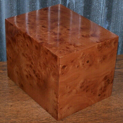 Burl Oak Wood Veneer Cremation Urn Box for Ashes Made in Italy/Display Model
