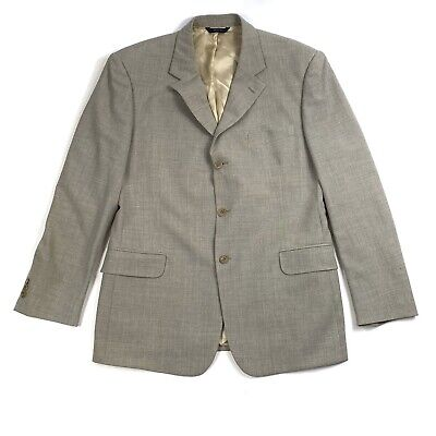 Brooks Brothers Mens Size 43R Tan Herringbone Wool Sports Jacket Blazer Italy