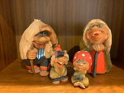 HENNING: Hand Carved Wood Troll Family of Four