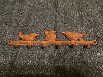 "8.5"" Rusted Rustic Cast Iron Triple Bird Wren Coat Hanger Rack Wall Hooks Keys"