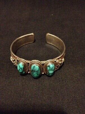 Vintage Sterling Silver & Turquoise Chinese Asian Dragon Foo Dog Cuff Bracelet
