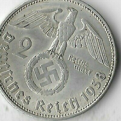 Rare Old German Antique Silver 1938 WWII Germany Eagle Great War Collection Coin